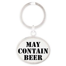 May Contain Beer Oval Keychain