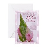 100th Birthday Card With Pink Flower And Ice
