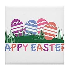 Happy Easter Eggs Tile Coaster