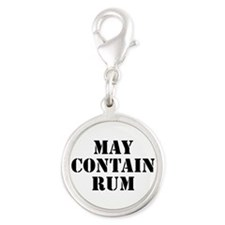 May Contain Rum Silver Round Charm