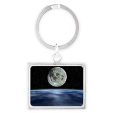 Computer artwork of full Moon over Earth's limb -