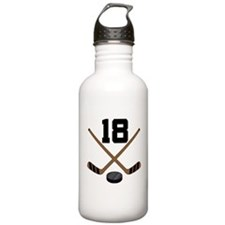 Hockey Player Number 18 Water Bottle