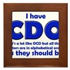 OCD CDO Funny T-Shirt Framed Tile