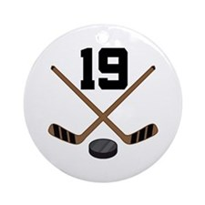 Hockey Player Number 19 Ornament (Round)