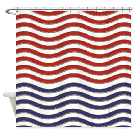 Red white and blue waves shower curtain by cheriverymery for Red white and blue bathroom accessories