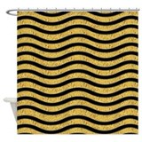 Black and Gold Waves Shower Curtain