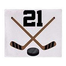 Hockey Player Number 21 Throw Blanket