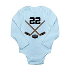 Hockey Player Number 22 Long Sleeve Infant Bodysui