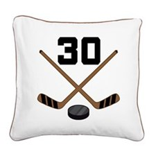 Hockey Player Number 30 Square Canvas Pillow