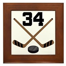 Hockey Player Number 34 Framed Tile