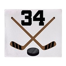Hockey Player Number 34 Throw Blanket