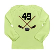 Hockey Player Number 49 Long Sleeve Infant T-Shirt