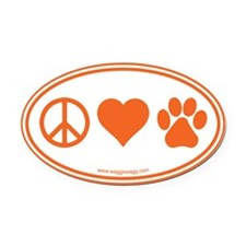 Peace Love Paws Oval Car Magnet