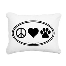 Peace Love Paws Rectangular Canvas Pillow