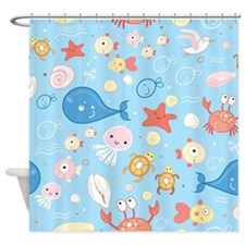 Cute Sea Life Shower Curtain