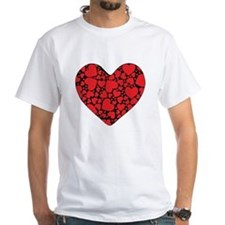Red Hearts on Black Shirt