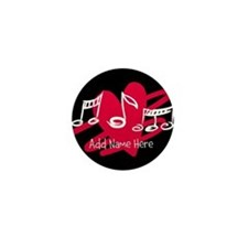 Personalized Musical notes love heart Mini Button
