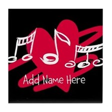 Personalized Musical notes love heart Tile Coaster