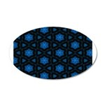 Blue Stars Pattern 20x12 Oval Wall Decal