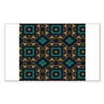 Green and Gold Pattern Sticker (Rectangle 50 pk)