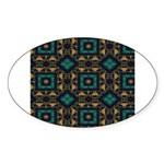 Green and Gold Pattern Sticker (Oval)