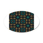 Green and Gold Pattern Oval Car Magnet