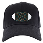 Green and Gold Pattern Black Cap
