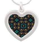 Green and Gold Pattern Silver Heart Necklace