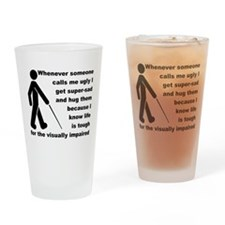 Ugly Visually Impaired Funny T-Shirt Drinking Glas