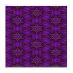 Purple and gold Stars Shower Curtain Tile Coaster