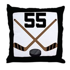 Hockey Player Number 55 Throw Pillow