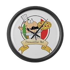 Italian Pizza Chef Large Wall Clock