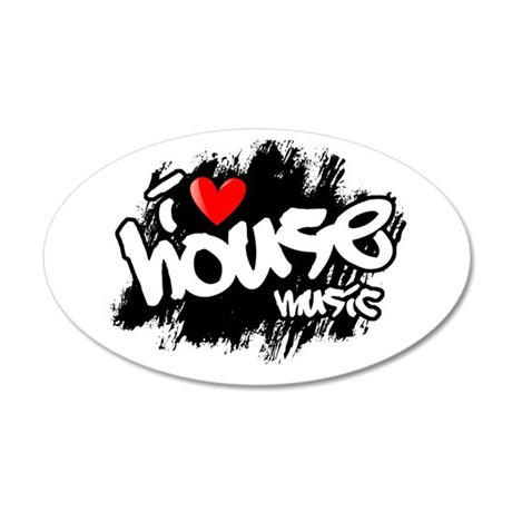 I Love House Music 35x21 Oval Wall Decal