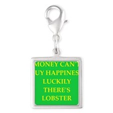 lobster Silver Square Charm