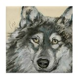 Wild At Heart Wolf Art Tile Coaster