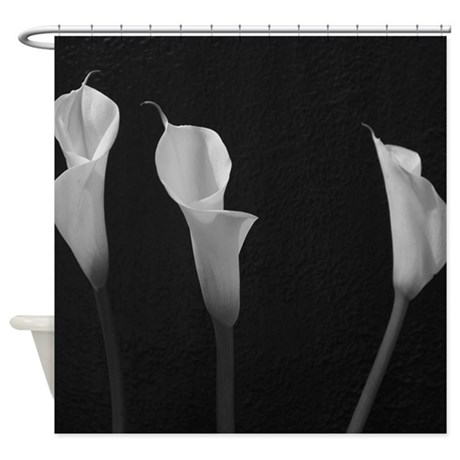 Black And White Lilies Shower Curtain By Christyoliver