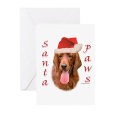 Santa Paws Irish Setter Greeting Cards (Package of