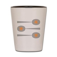 Spoons with Orange Detail. Shot Glass