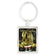 50th anniversary congradulations Portrait Keychain