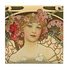 Beautiful woman by Mucha Tile Coaster