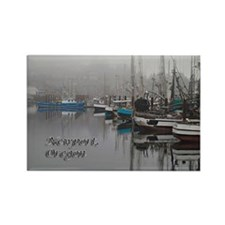 Foggy Pier in Newport, Oregon Rectangle Magnet
