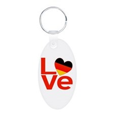 Red German LOVE Aluminum Oval Keychain