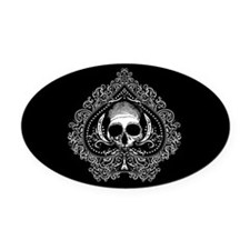 Skull Ace Of Spades Oval Car Magnet