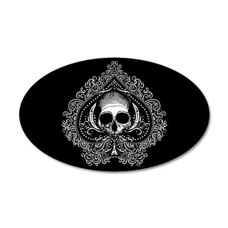Skull Ace Of Spades 20x12 Oval Wall Decal