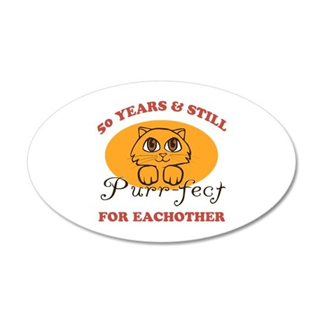 50th Purr-fect Anniversary 20x12 Oval Wall Decal