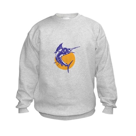 Sailfish Fish Jumping Retro Kids Sweatshirt