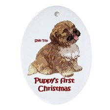Shih Tzu Christmas Puppys first Christmas Ornament