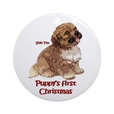 Puppys first Christmas shih tzu ornament