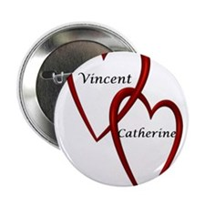 "Vincent and Catherine Two Hearts 2.25"" Button"