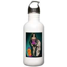 Latina Muertos Pin-up in Long Black Veil Water Bottle